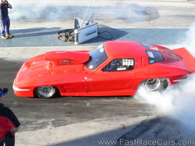 1963 RED CORVETTE Drag Car doing Burnout