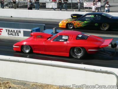 1963 RED CORVETTE STAGED