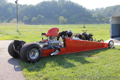 Orange Dragster with Downswept Headers
