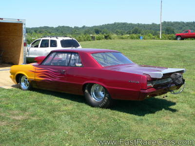 Maroon and Yellow GTO Drag Car