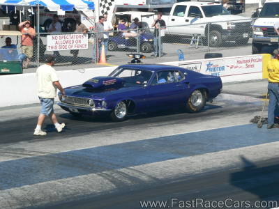 Purple MUSTANG Drag Car