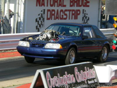 Blue MUSTANG Drag Car With Blower Motor