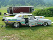 Silver Mustang Drag Car