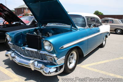 Blue and White 1956 Chevrolet Bel Air