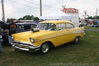 Yellow and White 1957 Chevrolet Bel Air