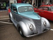 Beautiful 2-tone silver and blue 1937 Ford Coupe
