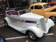 1930s White Convertible Roadster With Purple Interior