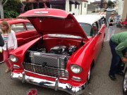 Red and White 1955 Chevrolet Bel Air Wagon